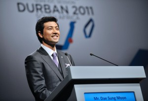 123rd IOC Session in Durban, 2011 - Presentation of the bid cities for the organization of the 2018 Winter Olympic Games. The city of Peyongchang. Dae sung MOON, IOC Member (KOR).